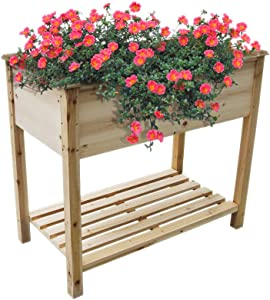 "NOYIDA Raised Garden Bed Elevated Wood Planter Box Raised Garden Planter Box with Legs for Outdoor Patio, Deck, Balcony,Comes with Premium Liner. (34"" L x 18"" W x 30"" H)"