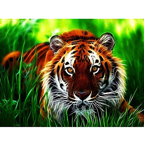 (Yeefant Tiger in the Grass Embroidery Paintings No Fading 5D Canvas Rhinestone Pasted DIY Diamond Cross Stitch Home Wall Decor for Office Bedroom Living Room,8x10 Inch)