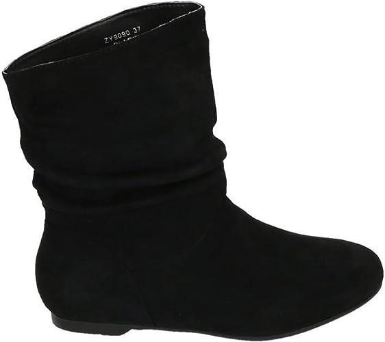 Damen Schlupfstiefel Stiefeletten Boots Flach Slouch Lang Stiefel Winterschuhen