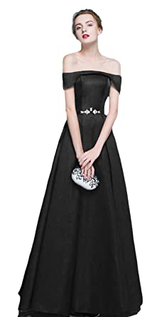 HEAR Womens Bateau Long Prom Dresses Plus Size Evening Party Dress Hear116 Black 0