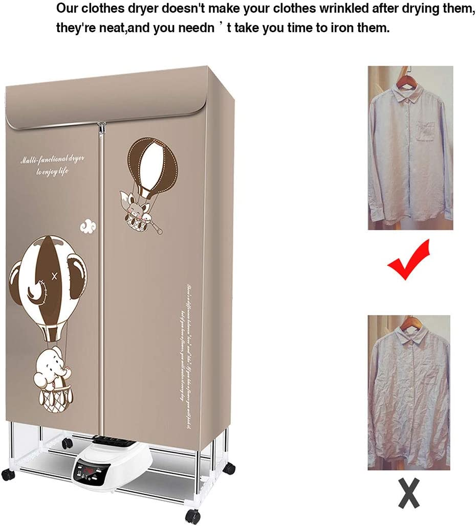 Electric Clothes Dryer 110V Foldable 2-Tier Drying Machine Timer with Remote Control for Home,Apartment,Hotel,Student Dorm