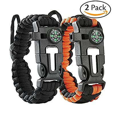 ACHIEWELL Survival Bracelet Tactical Gear Flint Fire Starter, Whistle,Compass & Scraper/Knife, Set Of 2,For Camping/Fishing/Hiking/ Hunting