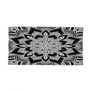xcvgcxcvasda Mandala - Toalla de baño (31,5 x 51,2 cm), diseño de Flores, Color Blanco y Negro: Amazon.es: Hogar