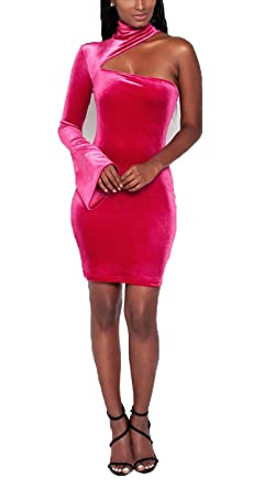 b71a77ce8e Felivia Women Long Sleeve Velvet Dress - One Shoulder Bell Sleeve Cutout  Front Fitted Club Party