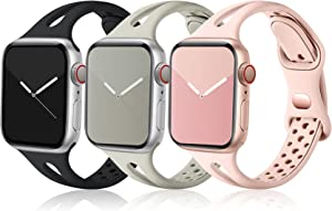 Ouwegaga Compatible with Apple Watch Band 38mm 40mm, Soft Silicone Narrow Slim Sport Breathable iWatch Bands Replacement Strap for iWatch SE & Series 6 5 4 3 2 1 for Women Men, Black Gray Pink
