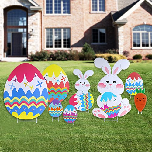 BESTOMZ Yard Signs Outdoor Garden Decoration with Egg and Bunny Design, Pack of 8, Double-sided Printing (Outdoor Spring Decorations)