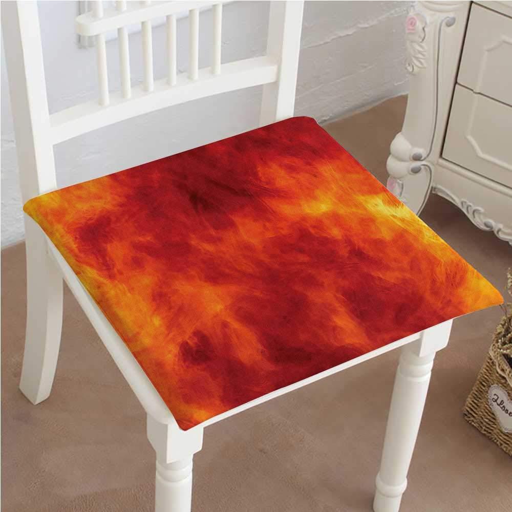 Mikihome 低反発素材チェアパッド オレンジ 装飾グラフィック 火災爆発 明るい 鮮やか 熱燃焼テーマクッション 屋内/屋外 14インチ x 14インチ x 2個 14