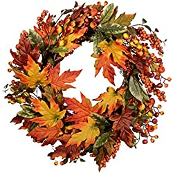 Wreath with Mixed Maple Leaves, Twigs and Berries