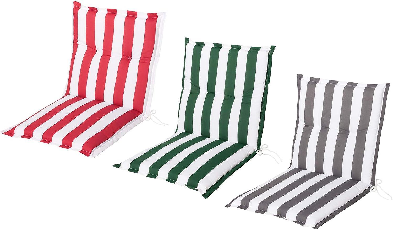 3 Colores dise/ño de Rayas Schwar Textilien Coj/ín para Silla de jard/ín Respaldo bajo