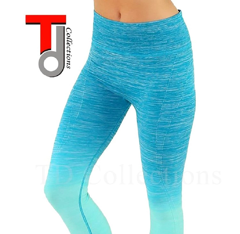 TD Collections Women's Yoga Two-Tone Pants Crop Capri