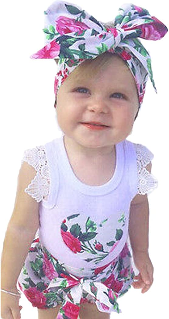 Shorts Clothes Set Vest Top DITTMURI Baby Girls 3pcs Floral Outfit Headband