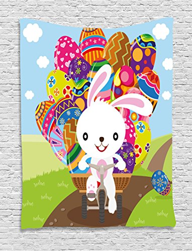 Easter Tapestry Colorful Cartoon Style Bunny Eggs Important