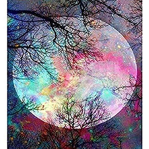 (Noopvan 5D Diamond Painting, DIY Embroidery Cross Stitch Kit Crystal Rhinestone Painting Home Wall Art Decor, Moon)
