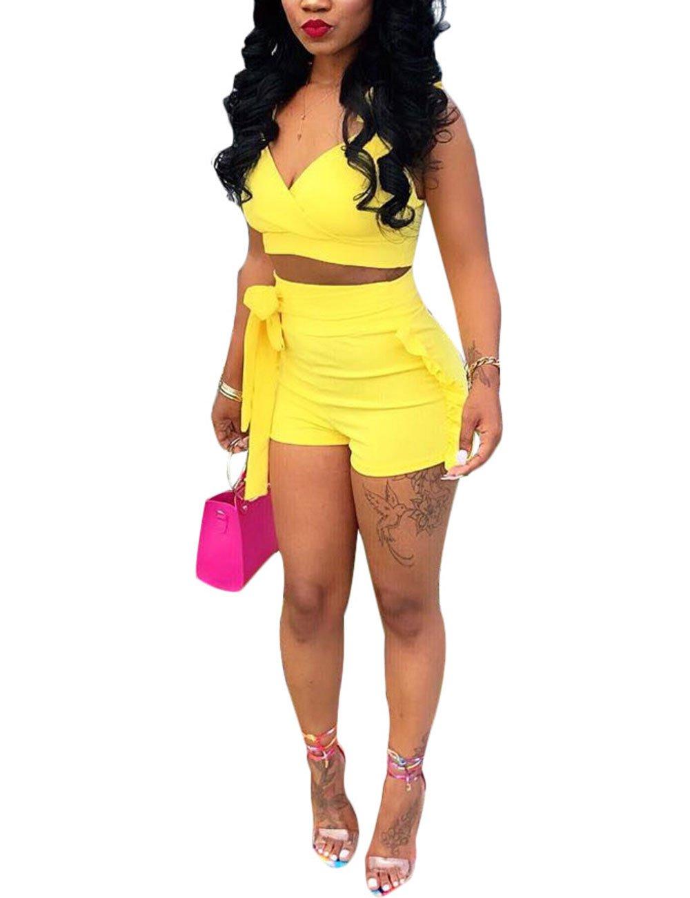 Women Ruffle 2 Piece Outfit V Neck Sleeveless Tank Crop Top and Shorts Set Yellow XL