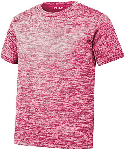 (Youth Dri-Equip Electric Heather Moisture Wicking T-Shirt-Pink-S)