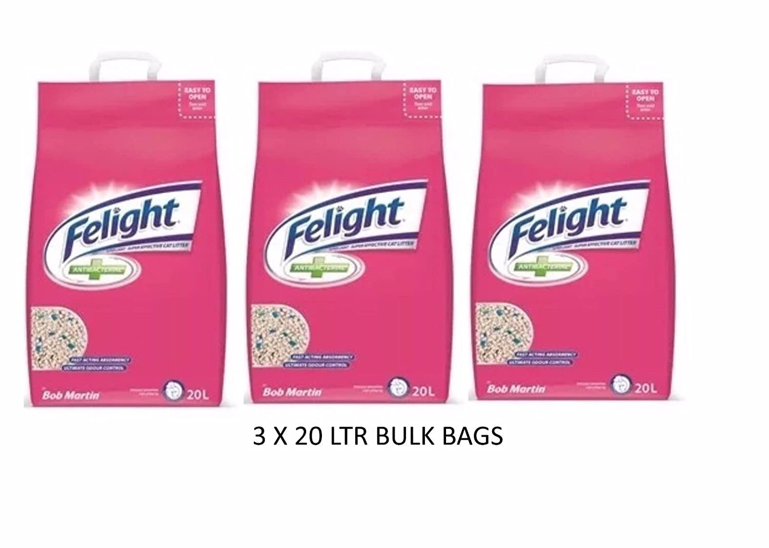 *NEW* 3 X 20 LTR BAGS BOB MARTIN FELIGHT LIGHTWEIGHT CAT LITTER STAYFRESH ODOUR CONTROL VALUE PACK WUNDAPETS