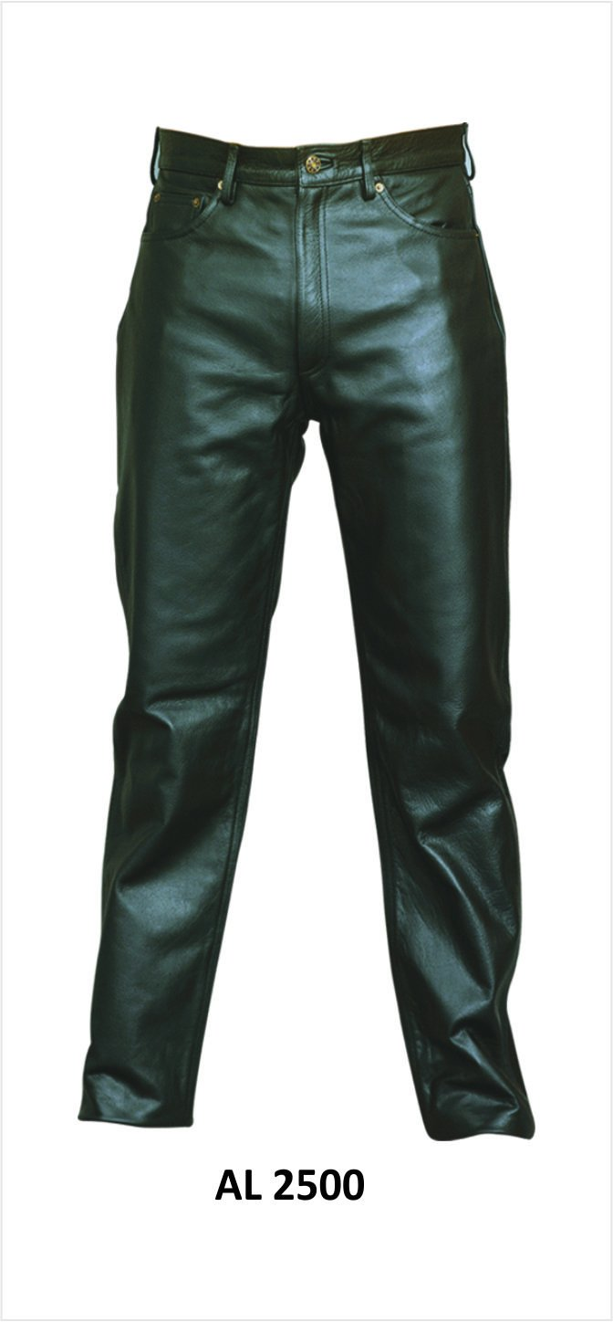 Men's Jean Style Black Leather Five Pocket Pants by Allstate Leather