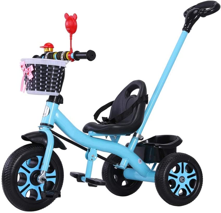 XMIMI Triciclo para niños   Triciclo para niños   Triciclo para niños   2 en 1 Mejorado   Los niños montan en Triciclo con Canasta   Púrpura   Blanco   Verde   Azul   Rosa   85X58X105CM (Color: Azul)