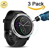 [3-Packs] Garmin Vivoactive 3 Screen Protector, Kimilar Full Coverage Tempered Glass Screen Protector for Garmin Vivoactive 3 Ultra High Definition Invisible and Anti-Bubble Crystal Shield