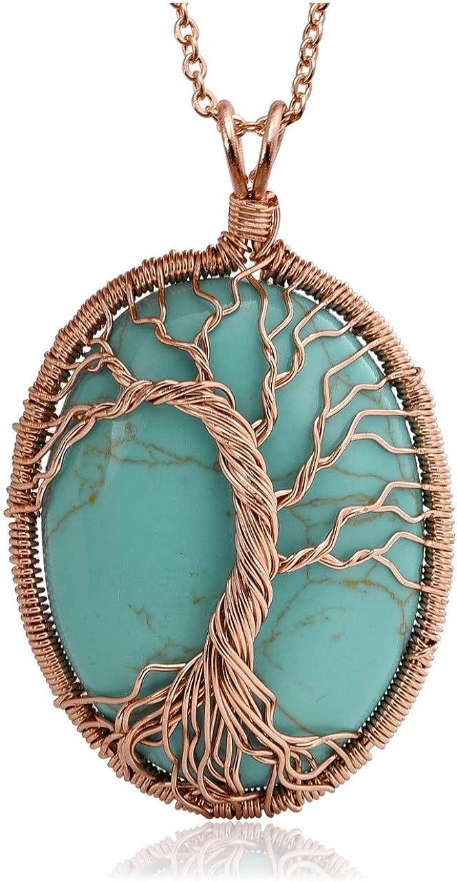 Jovivi - Colgante de árbol de la vida de piedra preciosa natural, cadena de oro rosa para mujer, hecho a mano