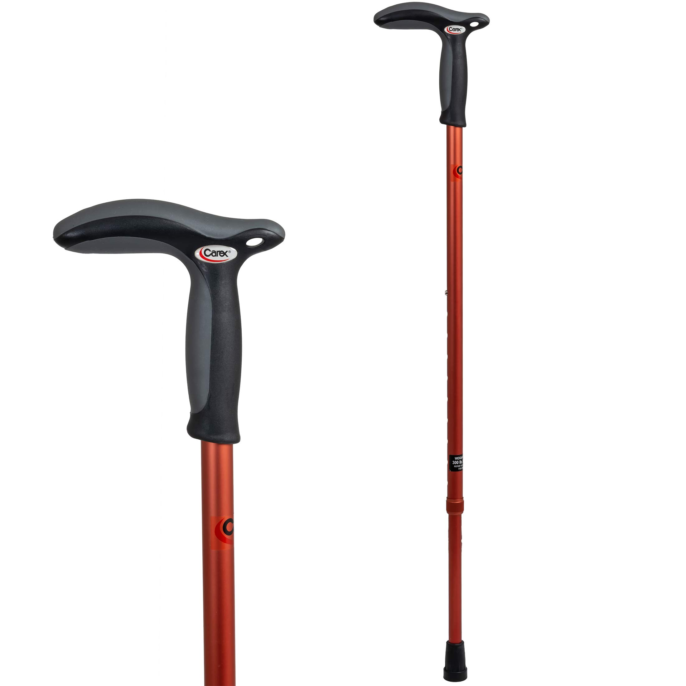 Carex Health Brands Hiking Cane Walking Stick with Dual Grip Handle for Men and Women, Red