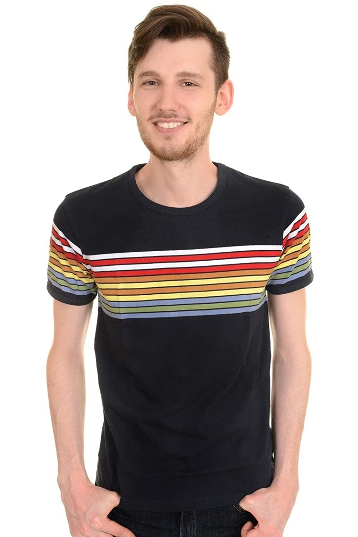 Men's Vintage Style Shirts Run & Fly Mens 60s 70s Retro Rainbow Striped T Shirt $22.95 AT vintagedancer.com