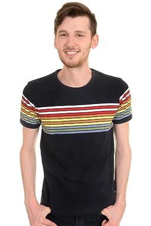 dfa1973b60 Run & Fly Mens 60s 70s Retro Rainbow Striped T Shirt | Amazon.com