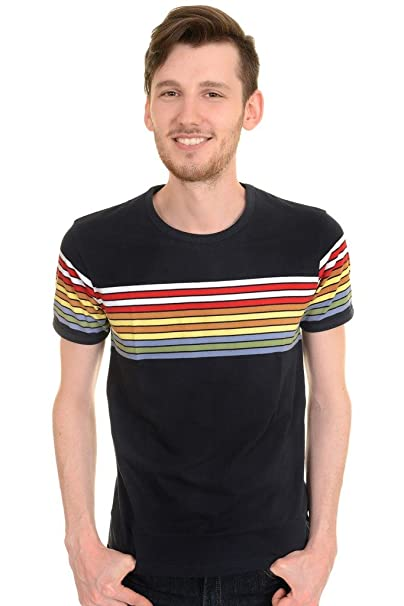 1960s – 70s Mens Shirts- Disco Shirts, Hippie Shirts Run & Fly Mens 60s 70s Retro Rainbow Striped T Shirt $22.95 AT vintagedancer.com