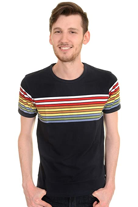 1960s Style Men's Clothing, 70s Men's Fashion Mens Run & Fly 60s 70s Retro Rainbow Striped T Shirt $22.95 AT vintagedancer.com