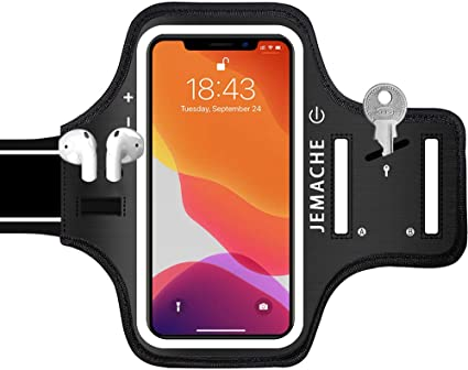 Amazon Com Iphone 11 Xr Armband With Airpods Holder Jemache Water Resistant Gym Running Workouts Arm Band Case For Iphone 11 Iphone Xr Black