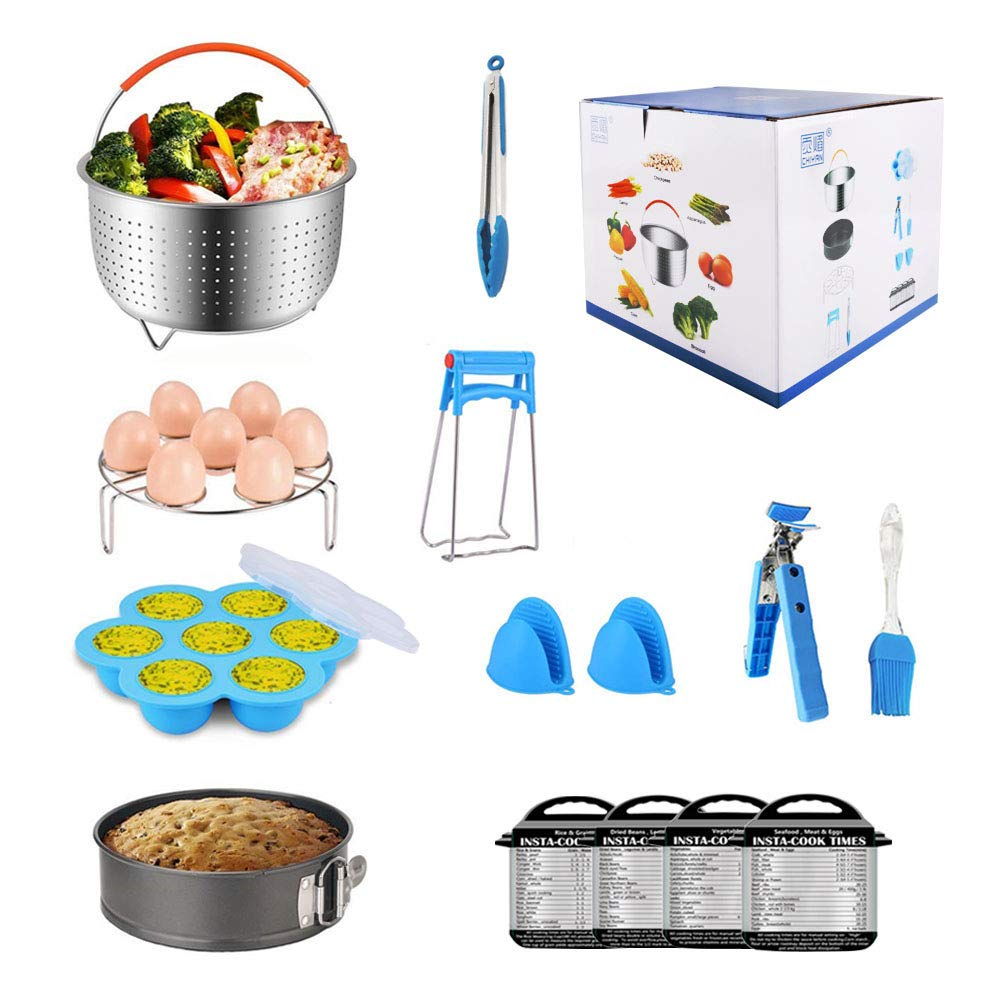 14pcs Accessories for Instant 6 QT&8QT, Steamer Basket, Silicone Bites Mold, Egg Rack,Non-Stick Springform Pan,Food, Pot Tong, Oven Mitts, Oi, 6QT&8QT by Chiyan