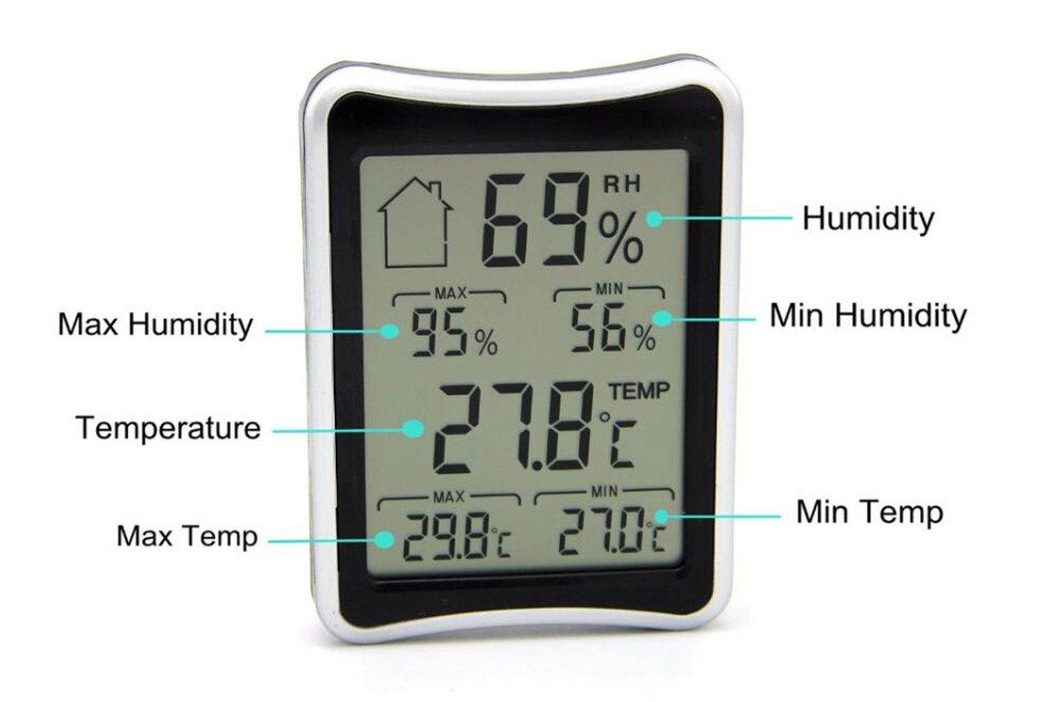 AMTAST Digital LCD Display Thermometer and Hygrometer Gauge, Light Weight and Portable