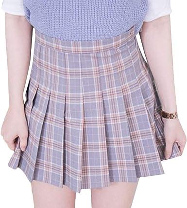 Primavera De Mujer Elegante Falda Plisada A Cuadros Falda Mode De ...