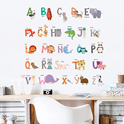 Amazon.com: Sunm boutique Animal Alphabet pegatinas de pared ...