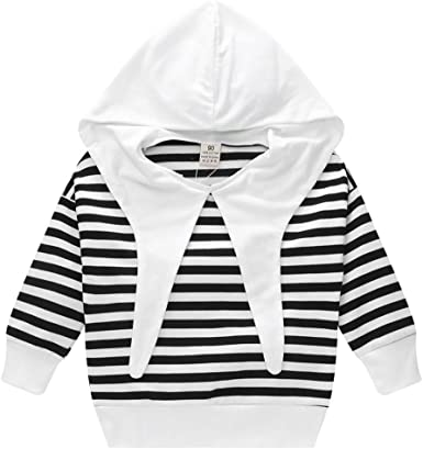 Vinjeely Infant Toddler Baby Girls Long Sleeve Striped Print Hooded Top Pants Outfits Fall Winter