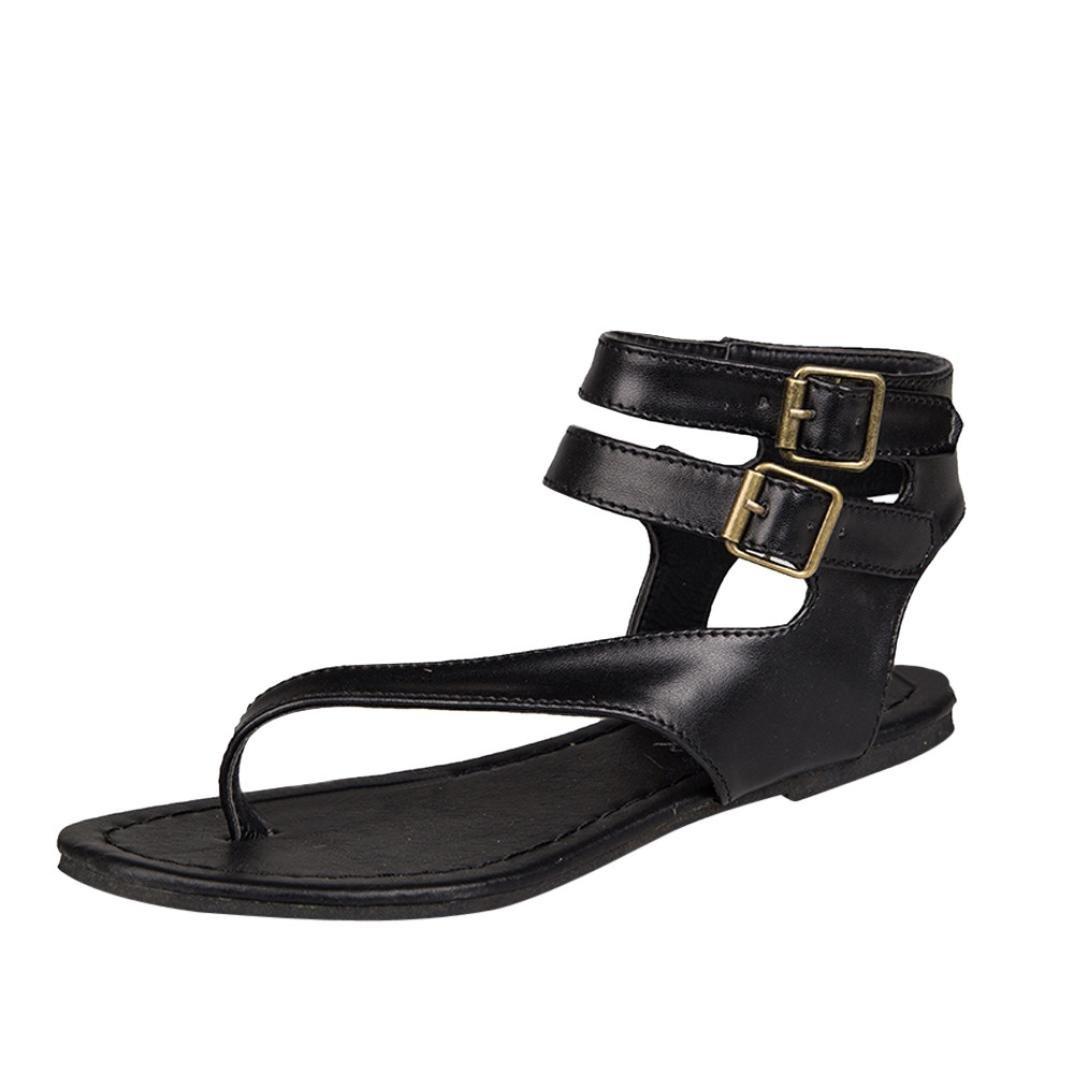 Zehentrenner in 3 Farben fuuml;r Damen, FEITONG Damen Riemchen Sandalen Zehentrenner Komfort Sandaletten Rouml;mische Sandalen Strand SchuheCN:40|Schwarz