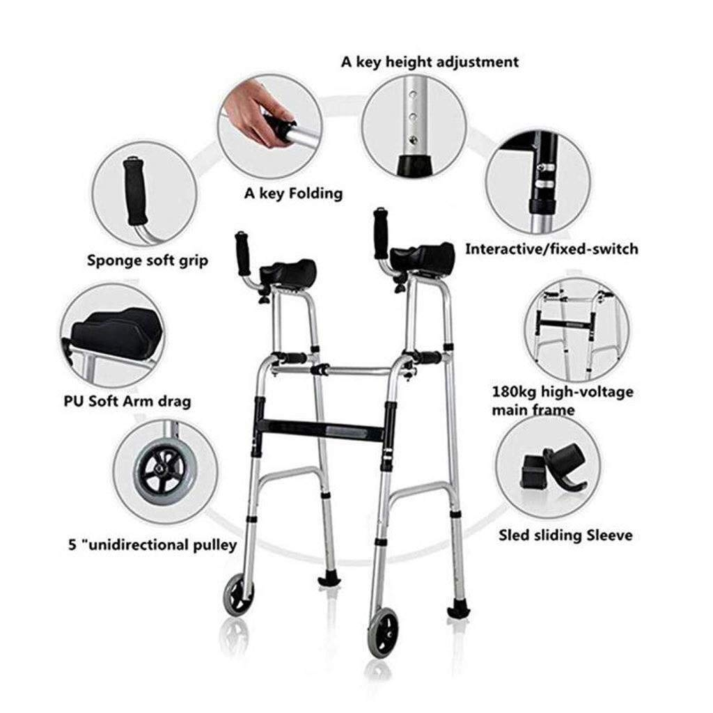 Folding Lightweight Aluminium Walking Frame with Wheels, Ergonomic Handle and Handbag Walking Mobility Aid Auxiliary Walking Safety Walker (Color : Deluxe Version) by YL WALKER (Image #2)