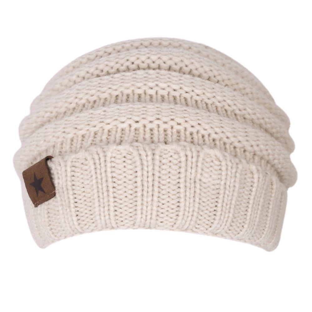 Chrislley Unisex Mütze warm gestrickte, dicke lose angenehm weich hochwertig fein verarbeitete Beanie Strick Mütze (Beige)