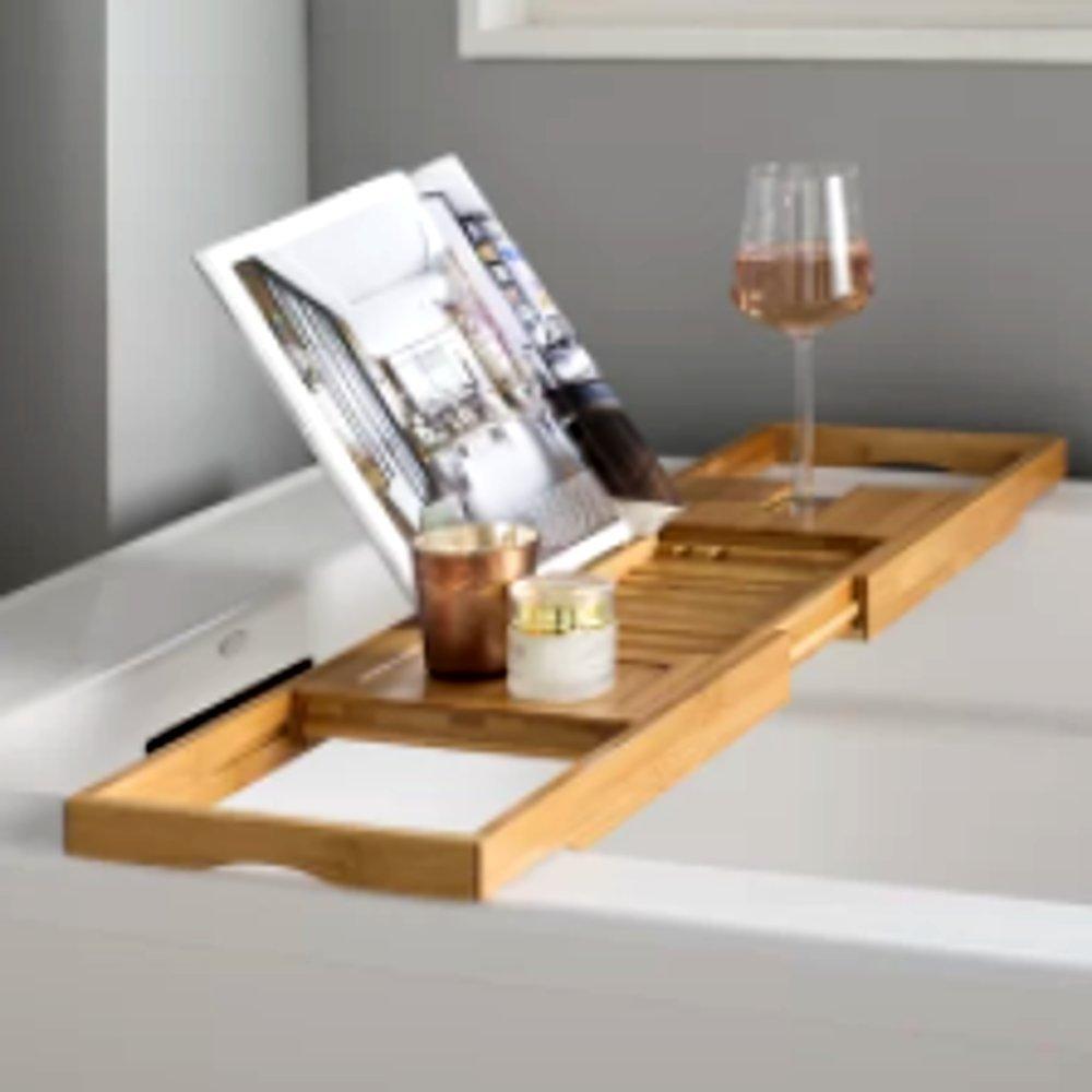 Luxury Bamboo Bath Caddy, Bathroom Wooden Contemporary Modern Bath Tub Caddy for Drink, Book and Phone & E-Book