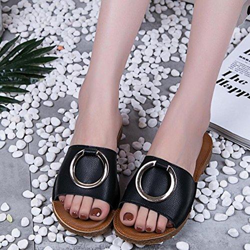 Summer in Black Scarpe Shoes GAOLIXIA Beach Decorazione Casual metallo donna Slippers Comfort Black White Outdoor da Fashion Sandali PU SIxwx8U