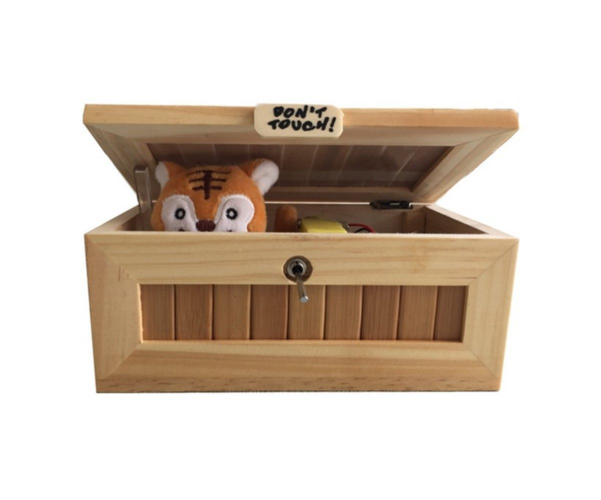Abrrow Useless Box Fully Assembled Leave Me Alone Machine Turns Itself Off Best Gifts Endless Fun (Cute Tiger - AA)