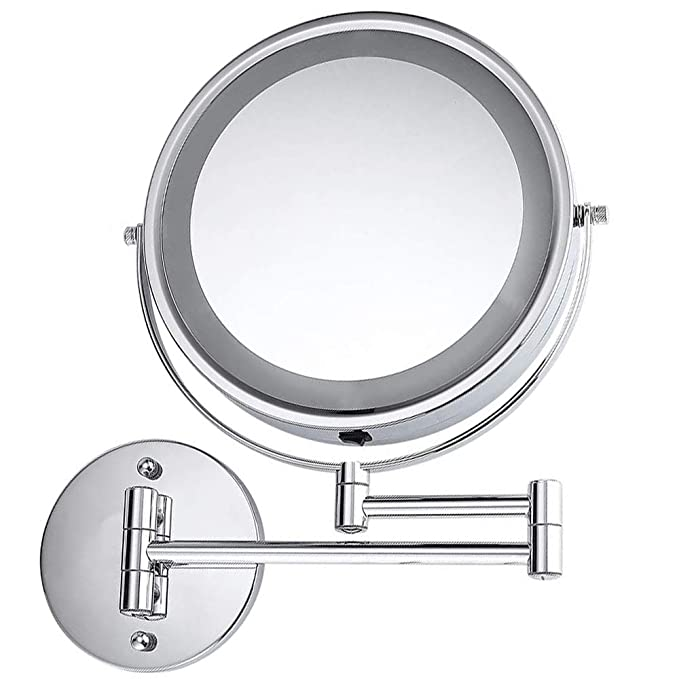 Moon Moon 7-Inch LED Lighted Wall Mount Makeup Mirror with 5x Magnification,Double-Sided Lighted Makeup Mirror
