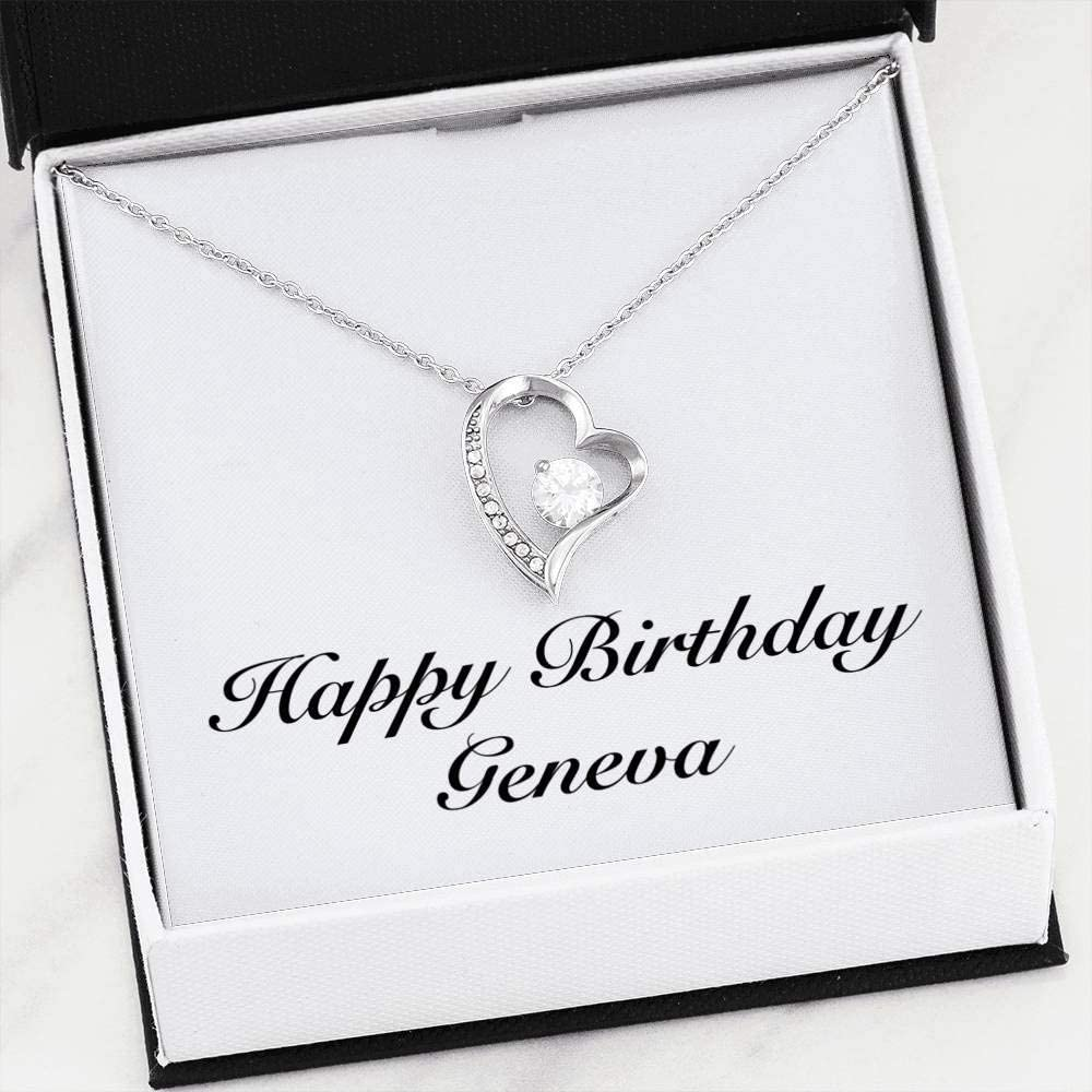 Forever Love Heart Necklace 14k White Gold Finish Personalized Name Gifts Happy Birthday Geneva