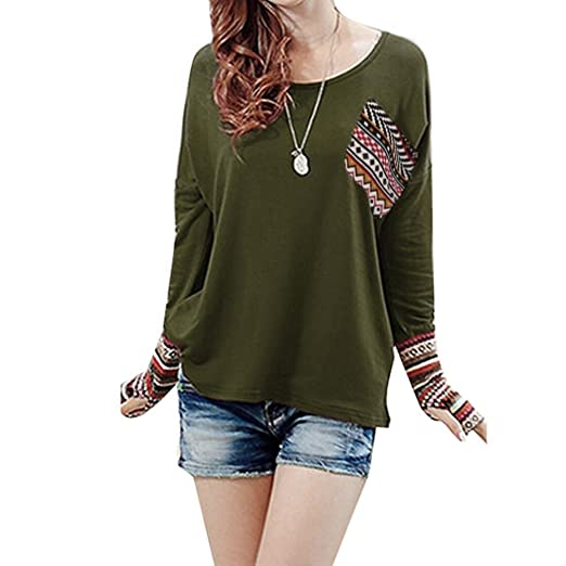 49bbc806fa848 Thumb Hole Shirts Women Patchwork Boho Pocket Blouse Long Sleeve Casual  Loose Tops (S