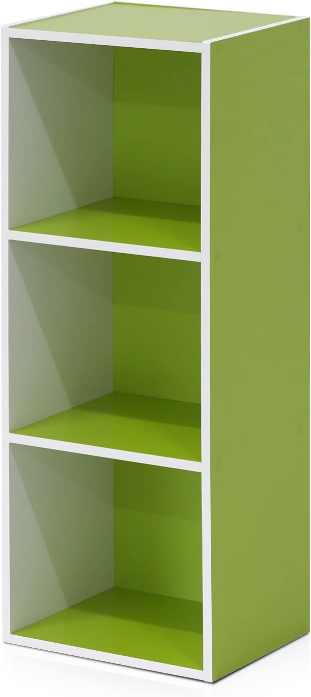 Furinno Pasir 3-Tier Open Shelf Bookcase, White/Green 11003WH/GR