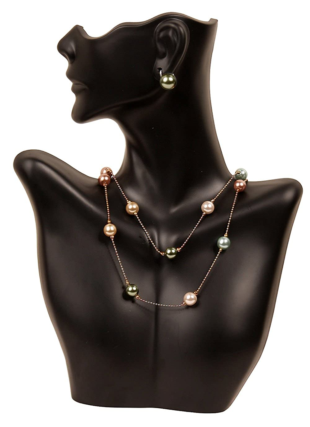 Necklace and Earring Bust Jewelry Display - Black Caddy Bay Collection