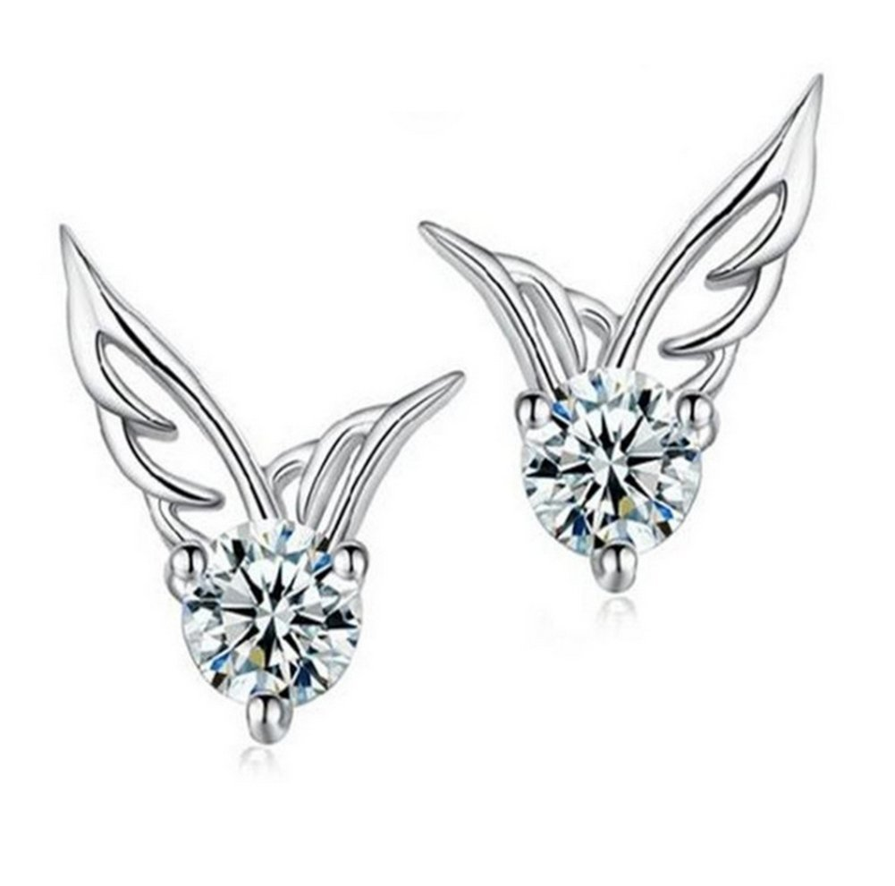 Lovind Wing Stud Earring,Fashion Silver Plated Earring for Girl Gift Valentine's Day Present