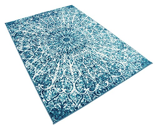 Unique Loom 3137738 Sofia Collection 4 6 Feet (4' x 6) Traditional Radial Vintage Area Rug, 4 x 6, Turquoise