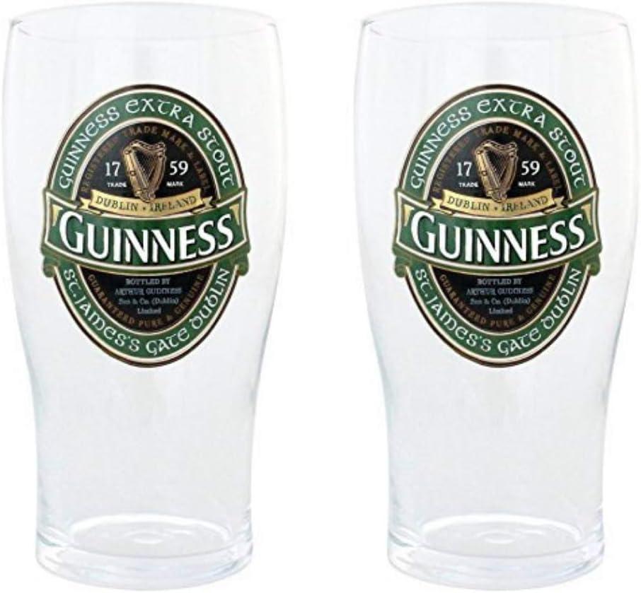 2 vasos de colección pintados con el logo Guinness Irlanda