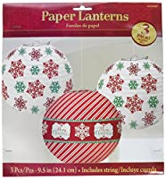 "Very Merry Christmas Printed and Striped Round Lanterns Party Decorations, Paper, 9"", Pack of 3"